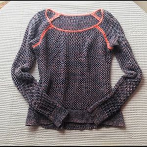 Boat neck marled blue with neon coral sweater S